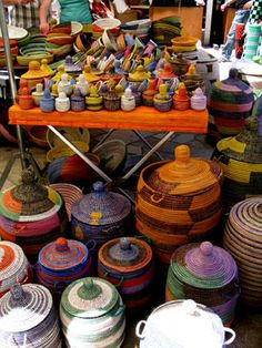 Colourful baskets in the market of Inca