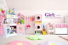 Girls Dream Playroom Makeover Part 2 Toddler Playroom Little Girls Playroom, Toddler Playroom, Little Girl Rooms, Toddler Girl Rooms, Playroom Design, Playroom Decor, Playroom Ideas, Sunroom Playroom, Boy Decor