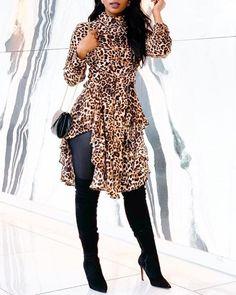 Shop Leopard Print Irregular Hem Casual Blouse right now, get great deals at Divasruby Long Sleeve Romper, Short Sleeve Dresses, Look Legging, Moda Afro, Looks Street Style, Printed Blouse, Pattern Fashion, Amazing Women, Ruffles