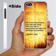 "iPhone 5 Case – Bible Verse ""Matthew 19:26″ Christian – WHITE Protective Hard Case"