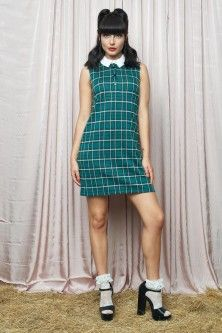 The Green Check Dress Revival Clothing, Check Dress, Weekend Style, Green, Clothes, Vintage, Dresses, Fashion, Outfits