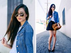 circle skirt and denim jacket