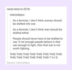 Not a feminist, still agree. The draft is a terrible system.