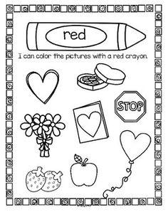RED Color Activity Sheet Preschool activity sheets