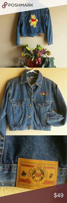 Winnie-the-Pooh denim cropped jacket Authentic Disney, Pooh collection jacket with wonderful details.  Pooh engraved buttons, 100 acre woods denim company patch, embroidered Pooh on front and Pooh patch on back.  Good condition,  size M Disney Jackets & Coats Jean Jackets