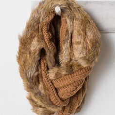 Faux Fur & Cable Knit Inifinity Scarf | Grae Apparel