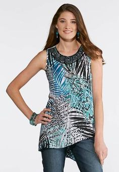 00b52d481af62 Cato Fashions Plus Size Embellished Mixed Palm Tank  CatoFashions Cato  Fashion Plus Size