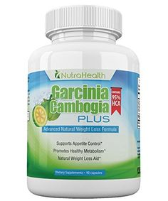 NutraHealth Pure Garcinia Cambogia Extract 95% HCA - Ultra Potency: 2100 mg Appetite Suppresant - 90 Vegan Capsules - 100% Natural Weight Loss Supplement For A Slim Body ^^ To view further, visit : Garcinia cambogia