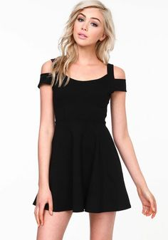 Coldshoulder Skater Dress, BLACK, large