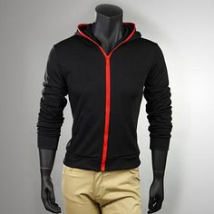 Casual Style Hooded Zipper Black Long Sleeves Polyester Coat For Men