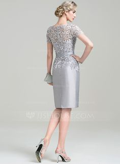 Sheath/Column Scoop Neck Knee-Length Zipper Up Sleeves Short Sleeves No 2016 Silver General Plus Taffeta Lace Mother of the Bride Dress