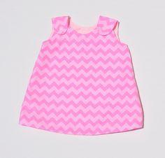 PInk Chevron Baby Pinafore Dress - Girls A line Dress - Reversible Tunic - 6 sizes by ShellsStitchesEtsy on Etsy
