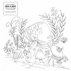 Mushrooms Embroidery pattern via Doe-C-Doe