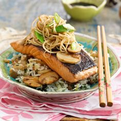 Glazed salmon with mushrooms