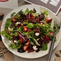 Mozzarella Strawberry Salad with Chocolate Vinaigrette For death by chocolate evening.