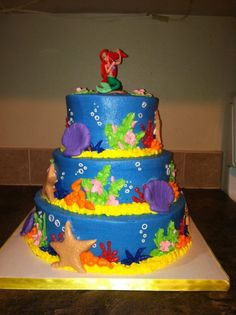 Ariel, the Little Mermaid tiered cake