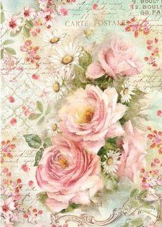 Rice Paper for Decoupage Scrapbooking Sheet Craft Vintage Wedding Tea Roses