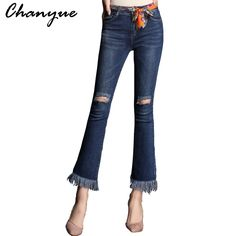 b5d71490e8b Chanyue Jeans Woman Ripped Boyfriend Jeans For Women Blue Torn Flared Jean  Femme Plus Size Hole Denim Pants Big Bell Bottoms-in Jeans from Women s  Clothing ...