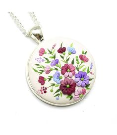Fashion Jewelry Floral Pendant Necklace Polymer Clay Jewelry