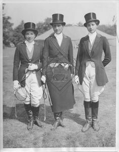 Oct 1, 1932. Society at Piping Rock Horse Show ~ Miss Hope Gimbal, Mrs. Bernard F. Gimbel and Miss Carol Gimbel wearing hunt team outfits at the 2nd day of the horseshow at Piping Rock Club, Locust Valley. They won the class.  Rebecca Ray Designs