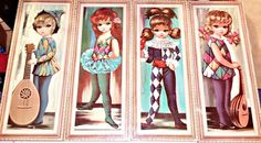 (4) Vintage BIG EYES Keane Inspired EDEN Artwork 1960's Decor - Harlequin #PopArt