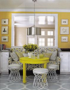 Loving the bright yellow table!