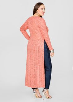 Mélange Rib Knit Duster - Ashley Stewart