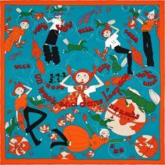 "Un Week-End dans l'Espace | 2015年秋冬コレクション | 《気ままな週末》| カレ ""ヴィンテージ""シルク | シルク 100% | サイズ: 70×70 cm | ソー・ケン によるデザイン | 商品番号 : H982939S 03 | ¥43,200"