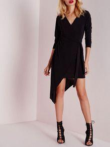 Black Long Sleeve V Neck Asymmetric Dress