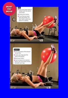 Flat-Bench Leg Raise with Exercise Ball Muscle and Fitness Hers