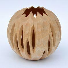 Vase Lampe Kugel klein aus Mangoholz Design echter Blickfang