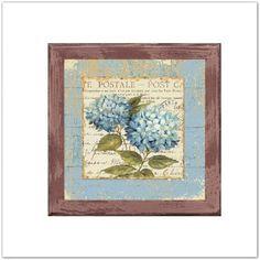Pinkbagoly: Hortenzia Postale virágos vintage fa táblakép, fal...