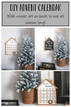 DIY Advent Calendar - With winter artwork on back to use all season long! This adorable DIY advent calendar is the perfect addition to your holiday decor! It's modern farmhouse style will compliment any Christmas decor! Flip it over after the countdown to Christmas has ended and use the Baby it's cold outside sign for the rest of winter! The festive winter artwork is easy to paint and offers free files to print! Make one for your family today!