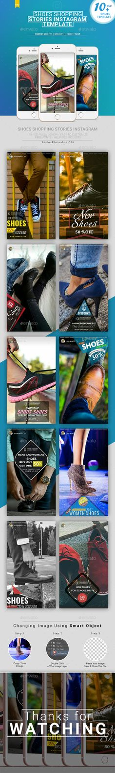 Instagram Stories - Shoes Shopping - Social Media Web Elements #ad Social Media Ad, Social Media Design, Social Media Graphics, Social Media Marketing, Instagram Banner, Media Web, Shoe Shop, Instagram Story, Ads