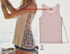 T-shirt with Lace Inset