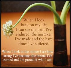 When i look back on my life I can see the pain I've endured, the mistakes I've made and the hard times I've suffered. When I look in the mirror I see how strong I've become, the lessons I've learned and I'm proud of who I am. | Share Inspire Quotes - Inspiring Quotes | Love Quotes | Funny Quotes | Quotes about Life