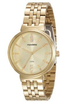94801LPMVDE2 Relógio Feminino Mondaine Analógico Dourado   Guest Club