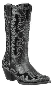 Ariat® Dandy™ Ladies Black Deertan with Black Inlays Snip Toe Cowboy Boots