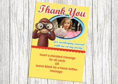 Curious George Thank You Card by mommybrain2designs on Etsy, $10.99