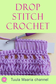 How to crochet drop stitches with stretched loops. Easy stitch for creating lacy style effects in your crochet. Step by step tutorial. All Free Crochet, Unique Crochet, Learn To Crochet, Crochet Things, Crochet Projects, Crochet Tutorials, Video Tutorials, Crochet Designs, Crochet Patterns