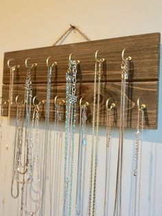 Wooden Necklace Holder- 5 x can find Necklace holder and more on our website.Wooden Necklace Holder- 5 x 12 Diy Jewelry Hanger, Diy Necklace Holder, Necklace Hanger, Diy Jewelry Necklace, Jewelry Organizer Wall, Necklace Storage, Wooden Necklace, Wooden Jewelry, Jewelry Holder
