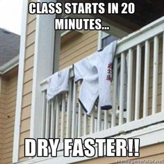 I can't tell you the number of times I've trained or taught in a half-dry dobok...