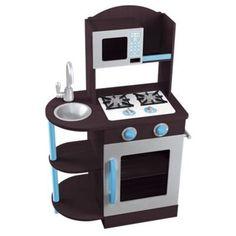 KidKraft Modern Espresso Silver  Turquoise Wooden Kitchen Espresso Silver  Turquoise *** For more information, visit image link.