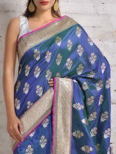 Blue-Green Banarasi Silk Saree