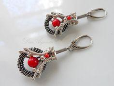 Sakura  wire wrapped earrings red earrings silver by DeaArgenta, $130.00