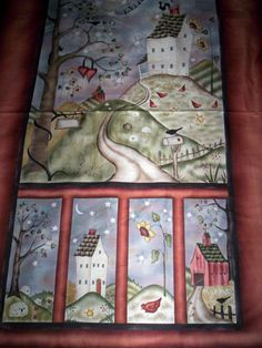1 PANEL HAPPILY EVER AFTER by JACQUELINE PATON RED ROOSTER saltbox house chicken #REDROOSTERFABRICS Saltbox Houses, Chicken Crafts, Red Rooster, Fabric Panels, Happily Ever After, Quilting, Fabrics, Frame, Cotton
