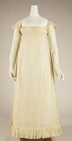 Dress  -  ca 1814; American; linen.  met museum.org  Accession # 1978.230.1