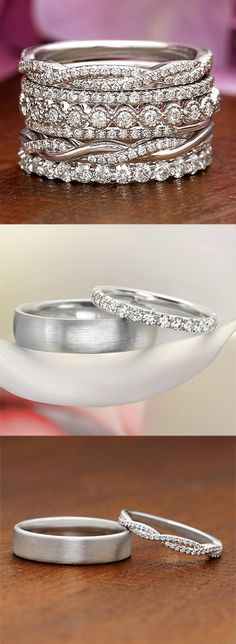 Explore our collection of diamond accented wedding bands!