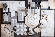 A concept board based strongly on geometric and precise shapes. Mood Board Interior, Interior Design Boards, Interior Inspiration, Design Inspiration, Kitchen Inspiration, Material Board, Concept Board, Colour Board, Tile Design