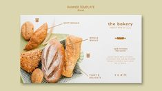 Plantilla de pancarta de pan siempre fre... | Free Psd #Freepik #freepsd #banner #comida #negocios #plantilla Banner Template, Macarons, Bakery, Delicate, Event Flyer Templates, Fresh Bread, Donuts, Bamboo, Food